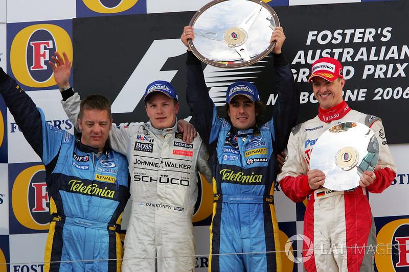 2006: 1. Fernando Alonso, 2. Kimi Raikkonen, 3. Ralf Schumacher