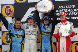 Podium: second place Kimi Raikkonen, McLaren, Race winner Fernando Alonso, Renault F1 Team, third pl