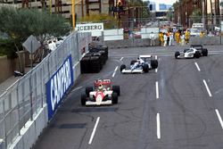 Ayrton Senna, McLaren Honda MP4/5B leads Jean Alesi, Tyrrell 018 Ford and Gregor Foitek, Brabham Judd BT58