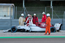 Charles Leclerc, Alfa Romeo Sauber C37 in the gravel