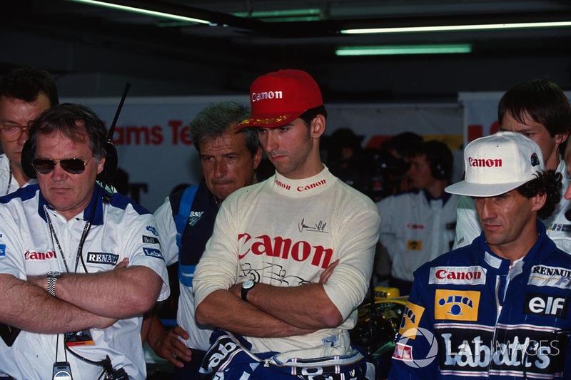 Patrick Head, Damon Hill ve Alain Prost, Williams, sıralama turlarını izliyor