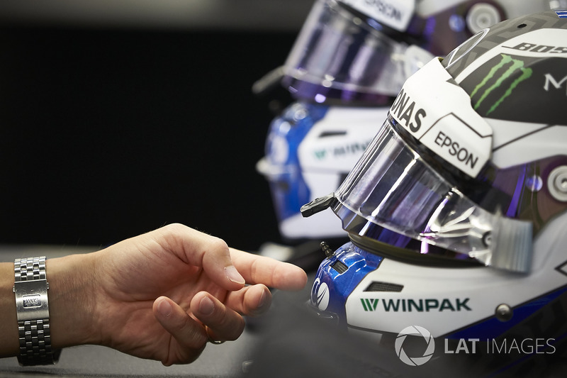 The helmets of Valtteri Bottas, Mercedes AMG F1