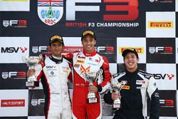 Podium: race winner Manuel Maldonado, Fortec Motorsport, second place Krishnaraaj Mahadik, Double R Racing, third place Sasakorn Chaimongkol, Hillspeed