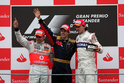 Podium: race winner Sebastian Vettel, Scuderia Toro Rosso, second place Heikki Kovalainen, McLaren, third place Robert Kubica, BMW Sauber F1