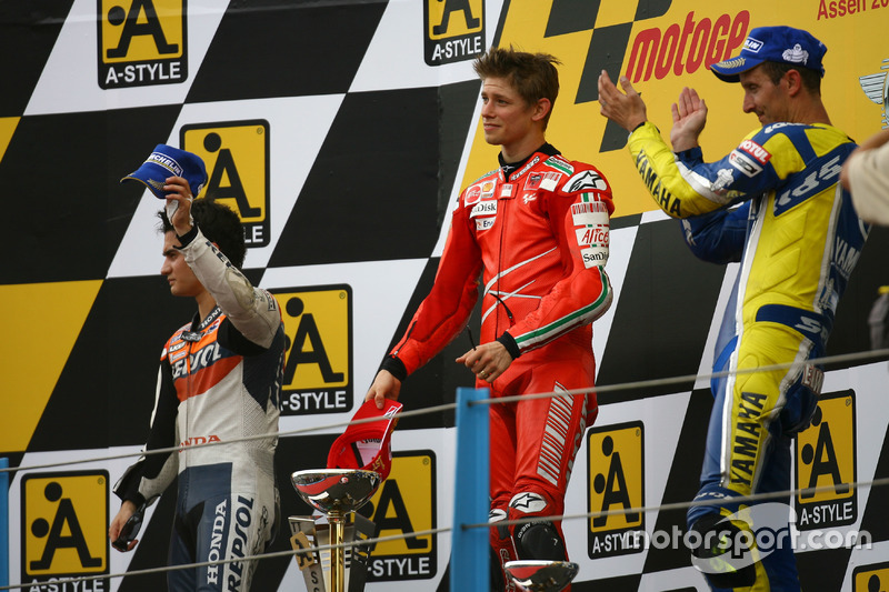 2008: 1. Casey Stoner, 2. Dani Pedrosa, 3. Colin Edwards