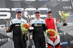 Podium: race winner Robert Dahlgren, second place Scott McLaughlin, third place Linus Ohlsson