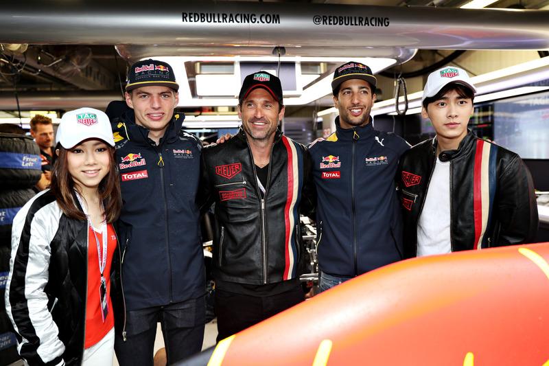 Max Verstappen, Red Bull Racing, Daniel Ricciardo, Red Bull Racing, cantante chino, G.E.M., actor ch