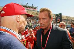 Niki Lauda, Mercedes Non-Executive Chairman with Arnold Schwarzenegger