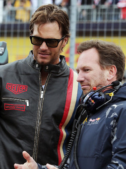 Christian Horner, Team Principal Red Bull Racing avec Tom Brady, Quarterback des New England Patriots