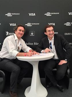Alejandro Agag, Formula E CEO, and Marco Borradori, Lugano Mayor