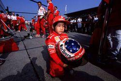 Genç bir Michael Schumacher, Ferrari taraftarı