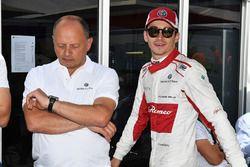 Charles Leclerc, Sauber celebrates with Frederic Vasseur, Sauber, Team Principal