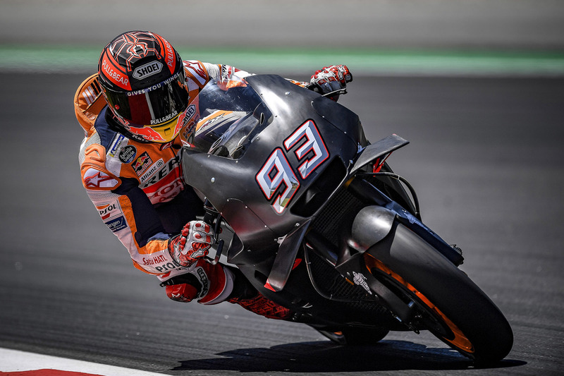 Marc Marquez, Repsol Honda Team, con la RC213V EVO 2018 que probó en el test de Barcelona la pasada semana
