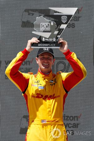 Ryan Hunter-Reay, Andretti Autosport Honda, festeggia sul podio