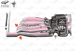 Force India VJM11 front wing, captioned