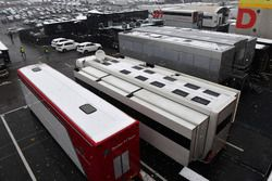 Trucks in the Paddock as snow stops testing