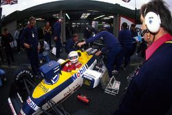 Martin Brundle, Williams FW12, discusses set up with technical director Patrick Head