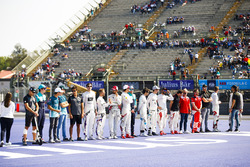 Drivers start a mexican wave in the stadium