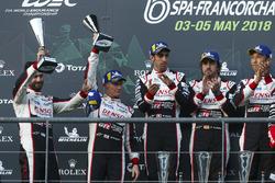 LMP1 podium: #7 Toyota Gazoo Racing Toyota TS050: Mike Conway, Jose Maria Lopez, Kamui Kobayashi, #8 Toyota Gazoo Racing Toyota TS050: Sébastien Buemi, Kazuki Nakajima, Fernando Alonso