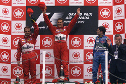 Podium: race winner Michael Schumacher, second place Rubens Barrichello, Ferrari, third place Gianca