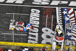 Kyle Busch, Joe Gibbs Racing, Toyota Camry M&M's Red White & Blue takes the checkered flag