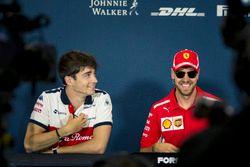 Charles Leclerc, Sauber y Sebastian Vettel, Ferrari en la conferencia de prensa