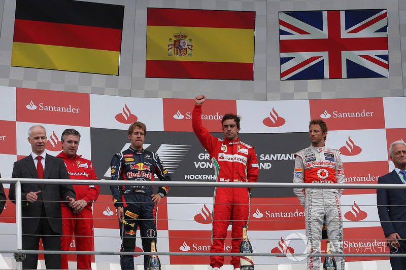 2012: First place Fernando Alonso, Ferrari; second place Sebastian Vettel, Red Bull Racing; third place Jenson Button, McLaren