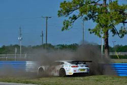 The #63 TA2 Chevrolet Camaro, Bob Lima of Team Lima crashes into the barriers at Sebring International Raceway