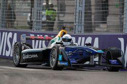 Actor Idris Elba drives the Formula E track car