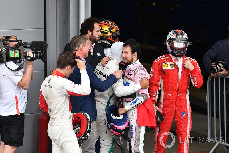Sergio Perez, Force India y Charles Leclerc, Sauber celebran