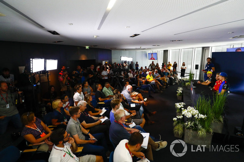 Sergio Perez, Force India, Nico Hulkenberg, Renault Sport F1 Team, Sebastian Vettel, Ferrari, and Brendon Hartley, Toro Rosso, face the media in the Press conference