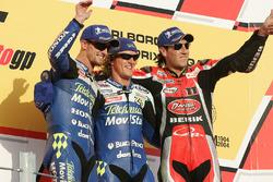 Podio: race winner Sete Gibernau, Honda, Colin Edwards, Honda, Ruben Xaus, Ducati