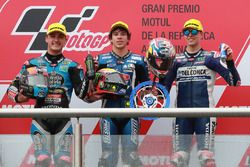 Segundo lugar Aron Canet, Estrella Galicia 0,0, ganador de la carrera Marco Bezzecchi, Prustel GP, tercer puesto Fabio Di Giannantonio, Del Conca Gresini Racing Moto3