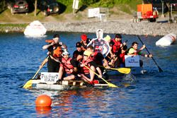 Haas and Toro Rosso Raft Race teams
