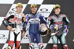 Polesitter Jorge Martin, Del Conca Gresini Racing Moto3, second place Tatsuki Suzuki, SIC58 Squadra Corse, third place Ayumu Sasaki, Petronas Sprinta Racing