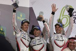 Podium LMP1: second place Timo Bernhard, Earl Bamber, Brendon Hartley