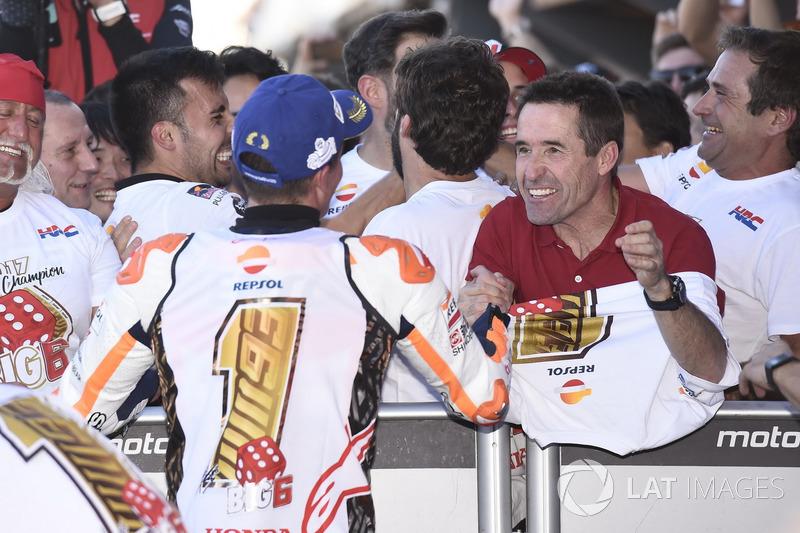 Worldchampion Marc Marquez, Repsol Honda Team celebrate with Julia Marquez