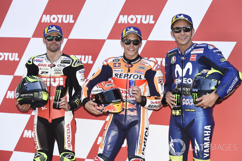 Top 3 after qualifying: Cal Crutchlow, Team LCR Honda, Marc Marquez, Repsol Honda Team, Valentino Rossi, Yamaha Factory Racing