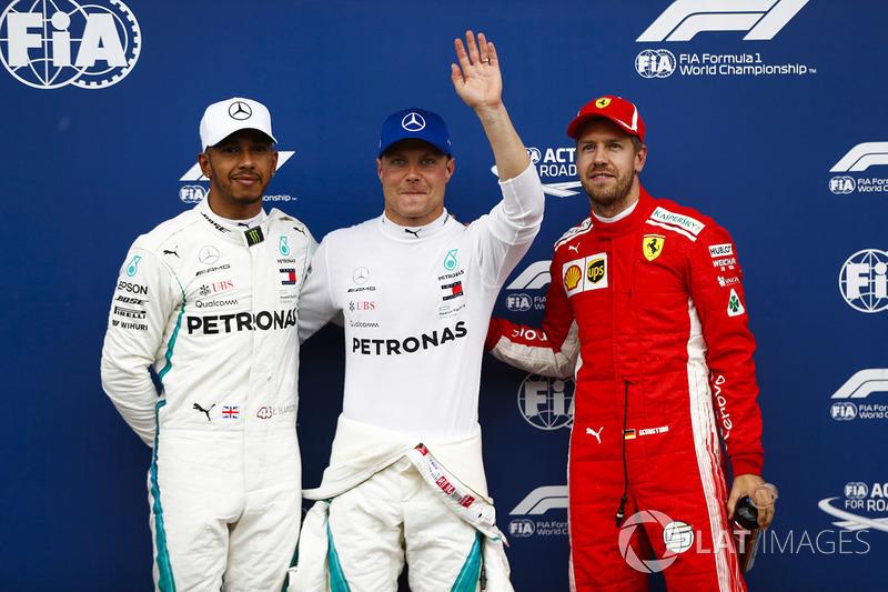 Pole pozisyonu galibi Valtteri Bottas, Mercedes AMG F1, 2. Lewis Hamilton, Mercedes AMG F1, 3. Sebastian Vettel, Ferrari