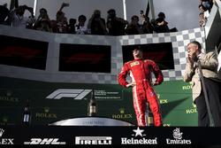 Kimi Raikkonen, Ferrari, sur le podium
