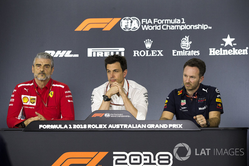 Maurizio Arrivabene, Ferrari Team Principal, Toto Wolff, Mercedes AMG F1 Director of Motorsport, Christian Horner, Red Bull Racing Team Principal