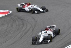 Marcus Ericsson, Sauber C37 and Charles Leclerc, Sauber C37
