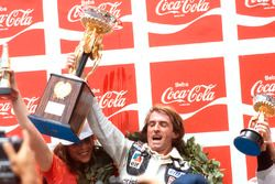 Podium: race winner Jacques Laffite, Ligier