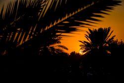 Il sole tramonta all'esterno dello stadio