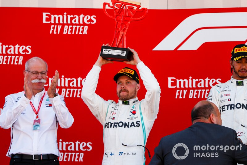 Valtteri Bottas, Mercedes AMG F1, 2nd position, receives his trophy