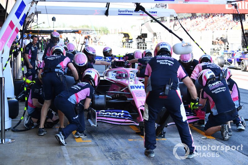 Lance Stroll, Racing Point RP19 en pits