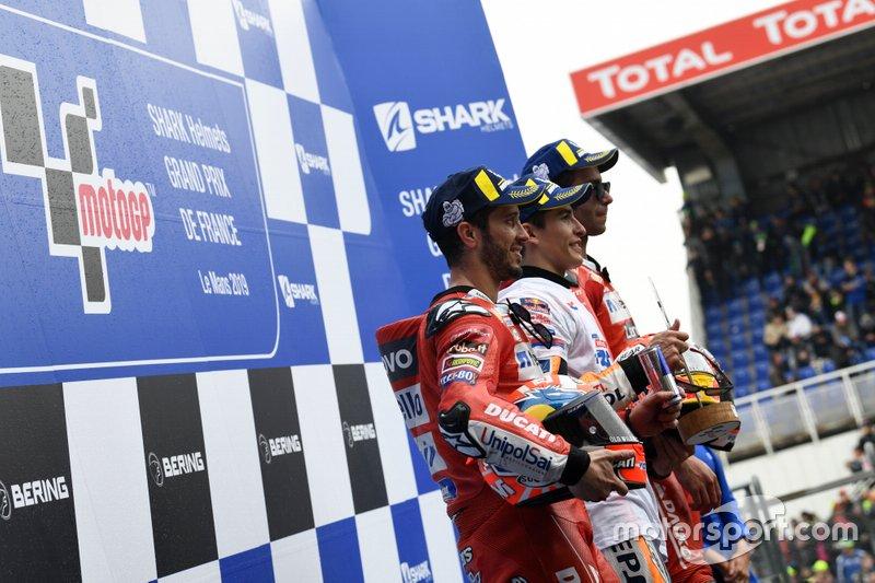 Подиум: Марк Маркес, Repsol Honda Team, Андреа Довициозо и Данило Петруччи, Ducati Team