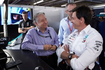 Jean Todt, President, FIA, joins Toto Wolff, Executive Director (Business), Mercedes AMG, in the Mercedes garage for Qualifying