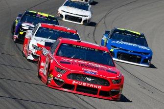 Ryan Blaney, Team Penske, Ford Mustang Menards/Wrangler Riggs, David Ragan, Front Row Motorsports, Ford Mustang Citgard Heavy Duty Engine Oil