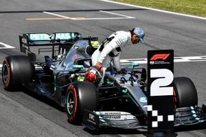 Lewis Hamilton, Mercedes AMG F1, inspects his car after Qualifying